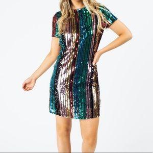NWT Multi Sparkle Stripe Dress